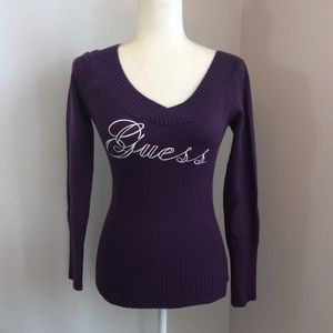 Guess Vintage Purple Embroidered Logo Sweater